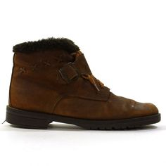 Lace Up Ankle Boots with Buckle & Faux Fur Lining by SpunkVintage, $46.00