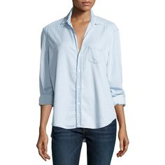 Frank & Eileen Eileen Button-Front Chambray Shirt ($230) ❤ liked on Polyvore featuring tops, blue, shirts & tops, blue top, relaxed fit tops, long sleeve tops and blue long sleeve shirt