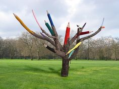 Giant colour pencil tree.Proposed public art installation by artist Dave Rittinger. 2011.