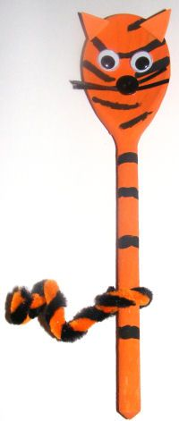 Tiger wooden spoon  --- have seen someone make a swap similar to this but it uses a regular size Popsicle stick instead of a spoon.