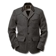 Nigel Cabourn Herrenjackett Raw Tweed Anthrazit | Mäntel und Jacken