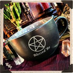 """BLESSED BE"" PENTACLE COFFEE / TEA MUG. Large Black & Gray Witches Cauldron Cup"
