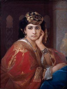 Portrait of Aicha (Constant Joseph Brochart - ) Perse Antique, Art Arabe, Joseph, Spanish Gypsy, Empire Ottoman, Gypsy Girls, Vintage Gypsy, Classic Paintings, Purple Love
