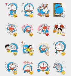 Doraemon Stickers Set   Telegram Stickers Anime Stickers, Kawaii Stickers, Free Stickers, Printable Stickers, Wallpaper Iphone Neon, Homescreen Wallpaper, Doraemon Wallpapers, Telegram Stickers, Diy Gifts