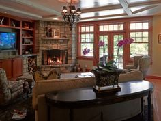 Living room furniture arrangement for corner fireplace - Dream Family room with fireplace