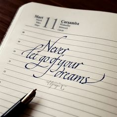 never let go of your dreams italic calligraphy tolga girgin