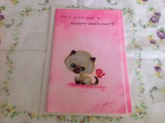 Vintage mixed box set of Siamese cat birthday cards number four