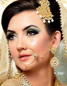 new Indian Bridal makeup photos 2015 Indian Wedding Bride, Indian Wedding Outfits, Indian Weddings, Indian Outfits, Indian Bridal Makeup, Asian Bridal, Indian Accessories, Hair Accessories, Indian Nose Ring