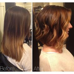 Before and After Makeover: Slightly A-lined bob haircut with blonde face framing balayage ombre. #StyledByKate | Instagram: @StyledByKate_