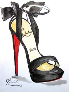 Fashion illustration: louboutin inspired shoe pen and watercolor giclee print of…