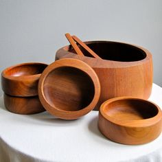 Dansk Teak Salad Set by Jens Quistgaard IHQ Danish Modern Wood Salad Bowl 1950s