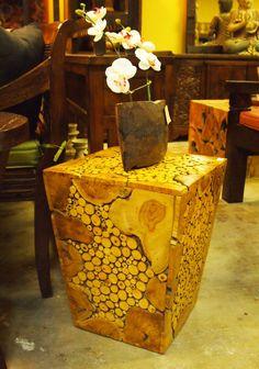 Mosaic Teak Burl Side Table. Visit Gado Gado for a great selection of Indonesian furniture.