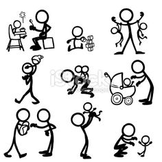 Stick Figure People Babies royalty-free stick figure people babies stock vector art & more images of baby - human age Doodle Drawings, Cartoon Drawings, Doodle Art, Easy Drawings, Tattoo Painting, Doodle People, Stick Figure Drawing, Cartoon Eyes, Stick Art
