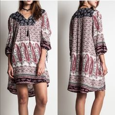 HOLD for Anita APHRODITE paisley tunic dress - CORAL mix size LARGE Dresses