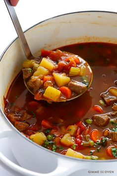 Vegetable Beef Soup -- this classic soup is so easy and delicious when made from scratch! | gimmesomeoven.com