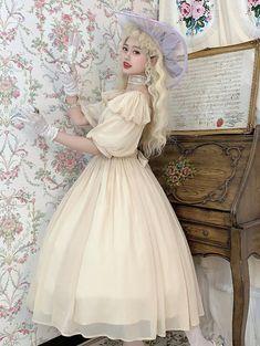 Lost Angel -Afuluoditei- Long Version Lolita OP Dress Romantic Clothing, Romantic Outfit, Lolita Dress, Lost, Angel, Clothes, Dresses, Fashion, Outfits