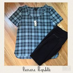 """NWT BR Top This cute, breezy,  blue and black plaid top is perfect for spring. Measurements shoulders: 16""""; chest 18"""";  length 24"""". Brand new with tags from Banana Republic. Banana Republic Tops"""