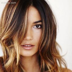 18 Stylish Hair Color trends 2015 for Valentine's Day Hair Color For Brown Skin, Black Hair With Highlights, Hair Color For Women, Cool Hair Color, Hair Colors, Brown Hair, Brown Eyes, Brown Blonde, Blue Eyes