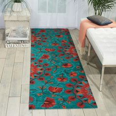 """Nourison Suzani SUZ02 Hand-tufted Area Rug - On Sale - Overstock - 7599401 - 2'3"""" x 8' Runner - Teal Teal Rug, Teal Area Rug, Teal Kitchen, Living Room Red, Area Rugs For Sale, Red And Teal, Wool Runners, Area Rug Sizes, Hand Tufted Rugs"""