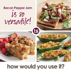 Bacon Pepper Jam is 40% off with a $50 purchase in October! Try it in recipes for Prosciutto Bacon Jam Pizza, Bacon Jam Jalapeno Poppers and even Overnight French Toast Bake.
