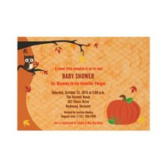 Little Pumpkin Fall Autumn Baby Shower Invitation by allpetscherished