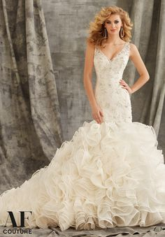 Bridal Gown 1354 Crystal Beading on Alencon Lace with Metallic Embroidered Appliques and Ruffled Organza