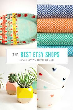 Ready to update your space? From handmade ceramics and turkish towels to colorblock planters and sweet heart bowls, you won't believe some of the style-savvy decor available on Etsy - Whether you are shopping for gift ideas or for yourself, here are the top Etsy shops for favorite home decor to give your room a cool and colorful boost.