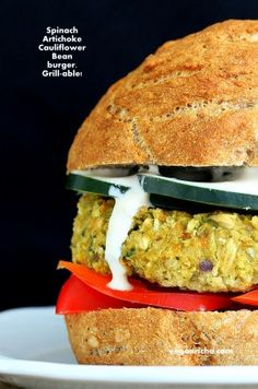 Spinach Artichoke Bean Burger | Vegan Richa