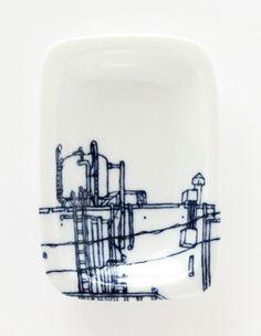 配電盤が描かれてる/密買東京 気になる絵の皿 商品詳細(絵皿、リム付皿 - 熊本充子 -)