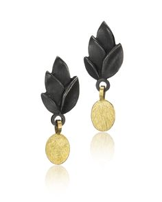 Black Leaves Earring with Gold Drop by Giselle Kolb. An yellow gold drop dangles from these oxidized sterling silver leaf earrings. Silver Bracelet For Girls, Silver Necklaces, Silver Earrings, Silver Ring, Black Gold Jewelry, Gold Jewellery, Jewellery Display, Jewelry Design Earrings, Black Leaves