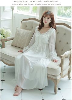 free shipping 100 cotton princess nightdress women 39 s long nightgowns white lace sleepwear mom. Black Bedroom Furniture Sets. Home Design Ideas
