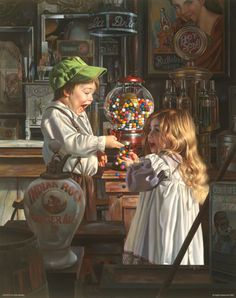 """Jackpot by Bob Byerley - """"When the boy and girl found a discarded pop bottle in the vacant lot, off they would go to the drugstore to redeem the two cent deposit. Those two pennies meant two pulls of the gumball machine lever. One cent, one pull, one gumball, or as every child has dreamed of, a malfunction of the machine and a jackpot of gumballs to fill their pockets."""""""