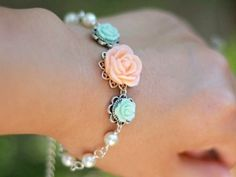 Image of Peach Rose and Pastel Green Roses with Ivory Swarovski Pearls Bracelet - BF005
