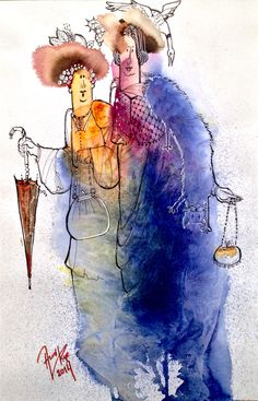 Watercolor and line Watercolor Mixing, Watercolour Painting, Watercolor Ideas, Watercolours, Pen And Wash, Painting People, Painting Inspiration, Photo Art, Whimsical
