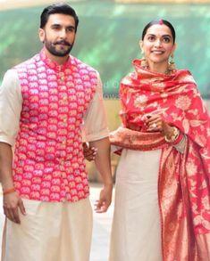 Deepika Padukone and Ranveer Singh Wedding Wedding Kurta For Men, Wedding Dresses Men Indian, Wedding Sherwani, Wedding Dress Men, Indian Dresses, Indian Outfits, Wedding Bride, Western Outfits, Wedding Wear