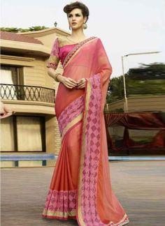 Stunning Pink Orange Shaded Chiffon Casual Sarees