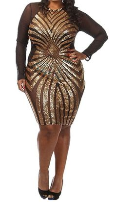 online shopping for Evalent Women's Plus-Size Diamond Pattern Gauze Sequined Bodycon Cocktail Club Dress from top store. See new offer for Evalent Women's Plus-Size Diamond Pattern Gauze Sequined Bodycon Cocktail Club Dress Plus Size Holiday Dresses, Plus Size Bodycon Dresses, Plus Size Cocktail Dresses, Plus Size Outfits, Gold Cocktail Dress, Bodycon Cocktail Dress, Bodycon Dress Parties, Elegant Party Dresses, Club Party Dresses