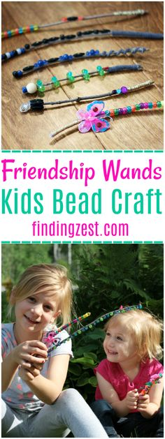 Friendship Wands are a fun kids activity and perfect for gift giving! This kids bead craft transforms sticks from your backyard into something unique and magical. Great for a rainy day and promotes fine motor skills, creativity and imagination!