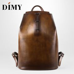 DIMY Genuine Leather Backpack for men Gentleman must Calfskin Backpacks Hand Patina 2019 Newest Men's Bag Shoulder Bags-in Backpacks from Luggage & Bags on Aliexpress.com | Alibaba Group Leather Backpack Pattern, Leather Backpack For Men, Denim Backpack, Leather Pattern, Cow Leather, Leather Boots, Cheap Backpacks, Key Chain Holder, Duffel Bag
