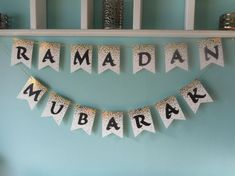Ramadan Mubarak Banner Gold Dots by BeautifulBannerShop on Etsy Eid Banner, Eid Mubarak Banner, Ramadan Mubarak, Foam Crafts, Diy And Crafts, Ramadan Kareem Pictures, Decoraciones Ramadan, Eid Cards, Ramadan Crafts