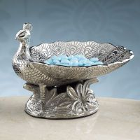 "Peacock Dish Item Details Our gleaming silver peacock fans his plumes to create the perfect dish for candy or keys. Handcrafted of heavily embossed matte silver nickel. 6 3⁄4""L x 5 3⁄4""H x 6 3⁄4""D."
