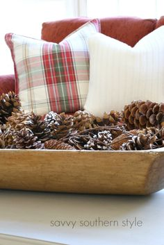 Savvy Southern Style: 6 Ways To Add Cozy Use pinecones and other natural elements
