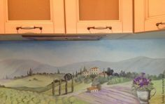 Italian countryside theme hand painted on a custom kitchen back-splash. #kitchenmuralidea #backsplashmural