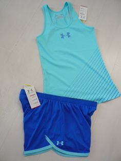 New Under Armour Womens Shorts DFO Nutech Tank Top Running Gym Set Blue Size L | eBay