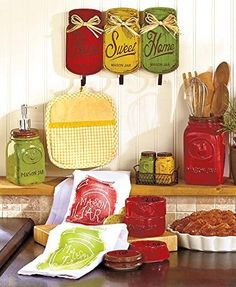 Primitive Mason Jar Red Yellow Green Collection Wall Hanger Hooks Utensil Holder Measuring Cups Salt N Pepper Shakers Soap Dispenser Pump Dish Towels Tuscan French Country Kitchen Decor Set >>> Check this awesome product by going to the link at the image.