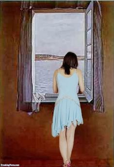 Modern Girl at a Window by Dali Pictures Dress Painting, Woman Painting, Salvador Dali Paintings, Girls White Dress, Sunset Canvas, Girl Posters, Naive Art, Living Room Pictures, Cute Baby Girl