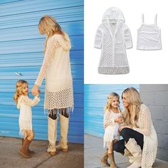 Cheap family matching, Buy Quality family matching clothes directly from China matching clothes Suppliers: Mom Daughter Family Matching Clothes Women Kids Girls Tassel Casual Coat Outwear Mother Daughter Dresses Matching, Matching Family Outfits, Matching Clothes, Cotton Vest, Kids Coats, Matches Fashion, Mom Daughter, Boho Tops, Mom Style