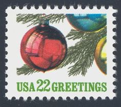 1987_10_23 $.22 This contemporary mint Christmas stamp features Christmas tree ornaments and was designed by Jim Dean.