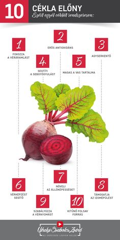 A cékla kitűnő vas-, kalcium-, magnézium-, szilícium- és magnéziumforrás, de megtalálható benne pl. a B1-, B2-, B6- és C-vitamin, folsav, niacin és biotin is. Hatékony vérképző, fokozza a vörösvérsejtek regenerálódását és képződését is, így vérszegénység esetén is ajánlott. Kitűnő antioxidáns, lúgosítja és méregteleníti a szervezetet, szabályozza az anyagcsere folyamatait. Egyél te is heti rendszerességgel céklát vagy igyál céklalevet, és használd ki pozitív hatásait! Az egészség legyen… Lower Belly Workout, Jaba, Good To Know, Allergies, Anti Aging, Healthy Lifestyle, Health Care, Vitamins, Food And Drink