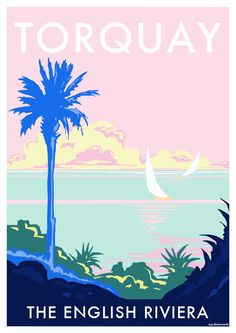 Torquay Palm vintage style travel poster and seaside print forms part of the British Coastlines travel art collection. Created by Devon Artist Becky Bettesworth.